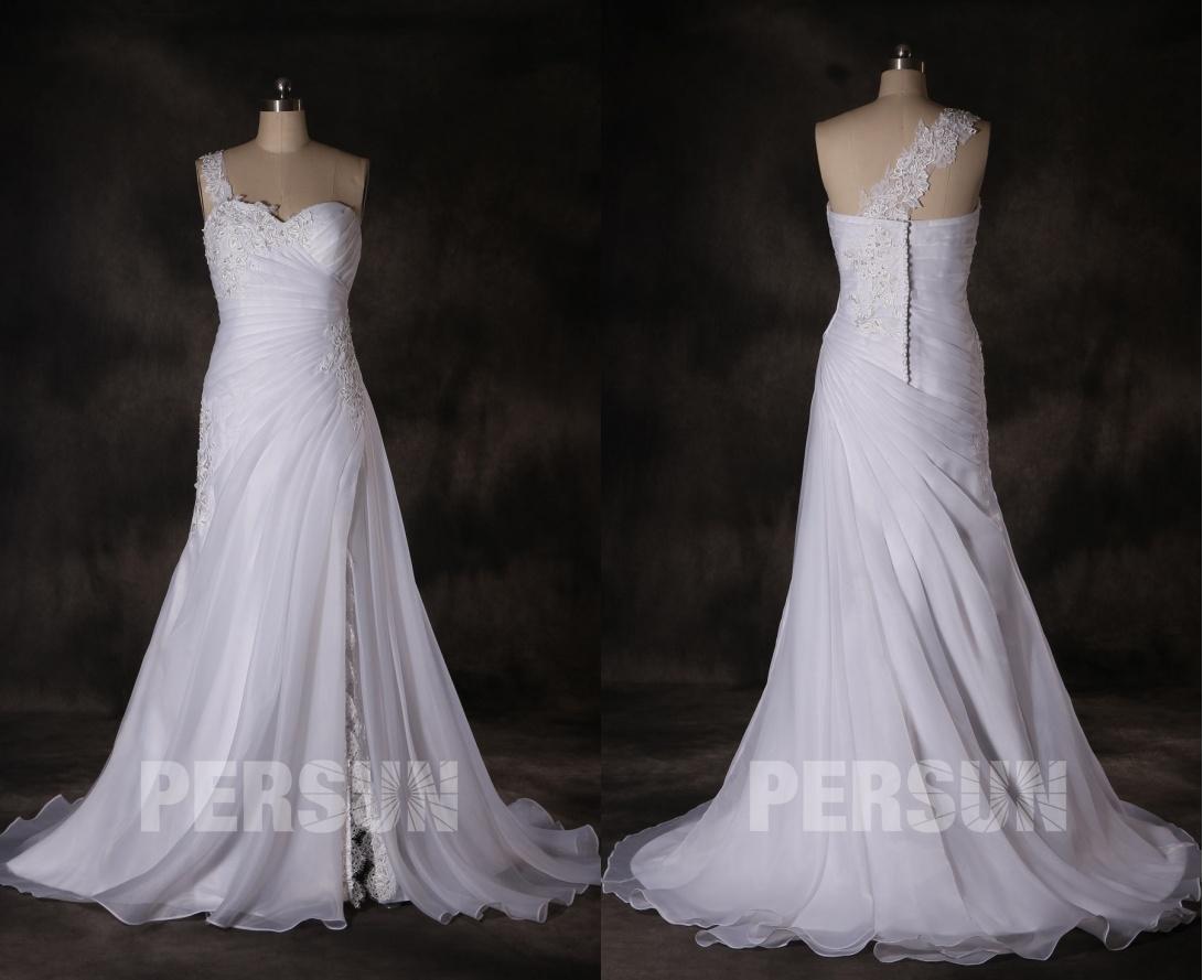 robe mariée fendue bustier coeur avec bretelle dentelle détachable