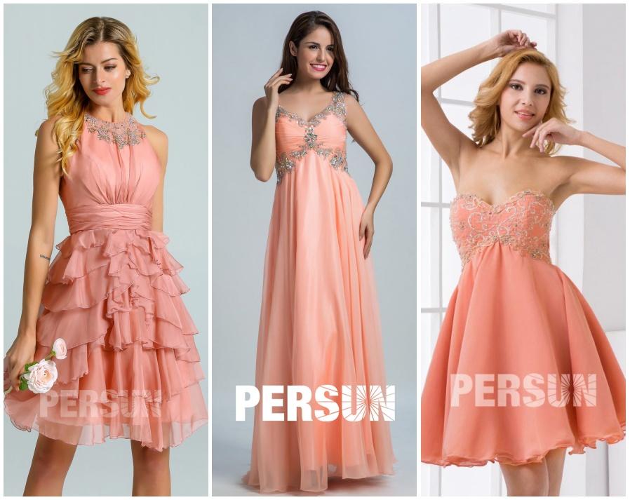 robe demoiselle d'honneur rose saumon courte & longue
