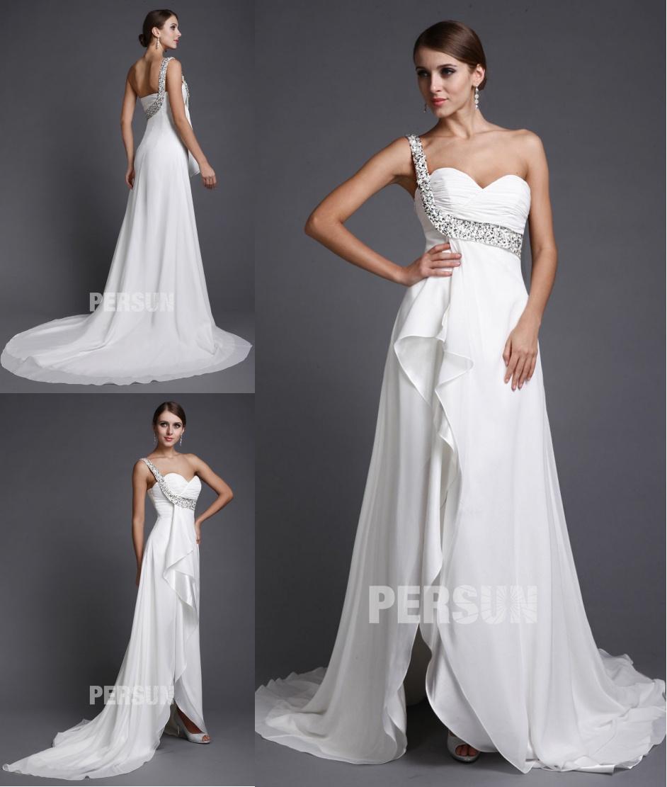 robe de mariage fendue encolure asymétrique empire avec bretelle strass