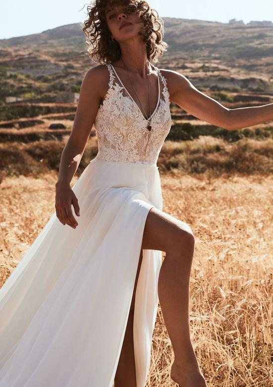 robe mariée fendue col v haut dentelle