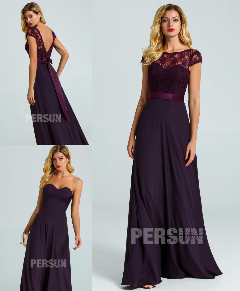 robe demoiselle d'honneur longue prune bustier coeur avec empiècement dentelle détachable
