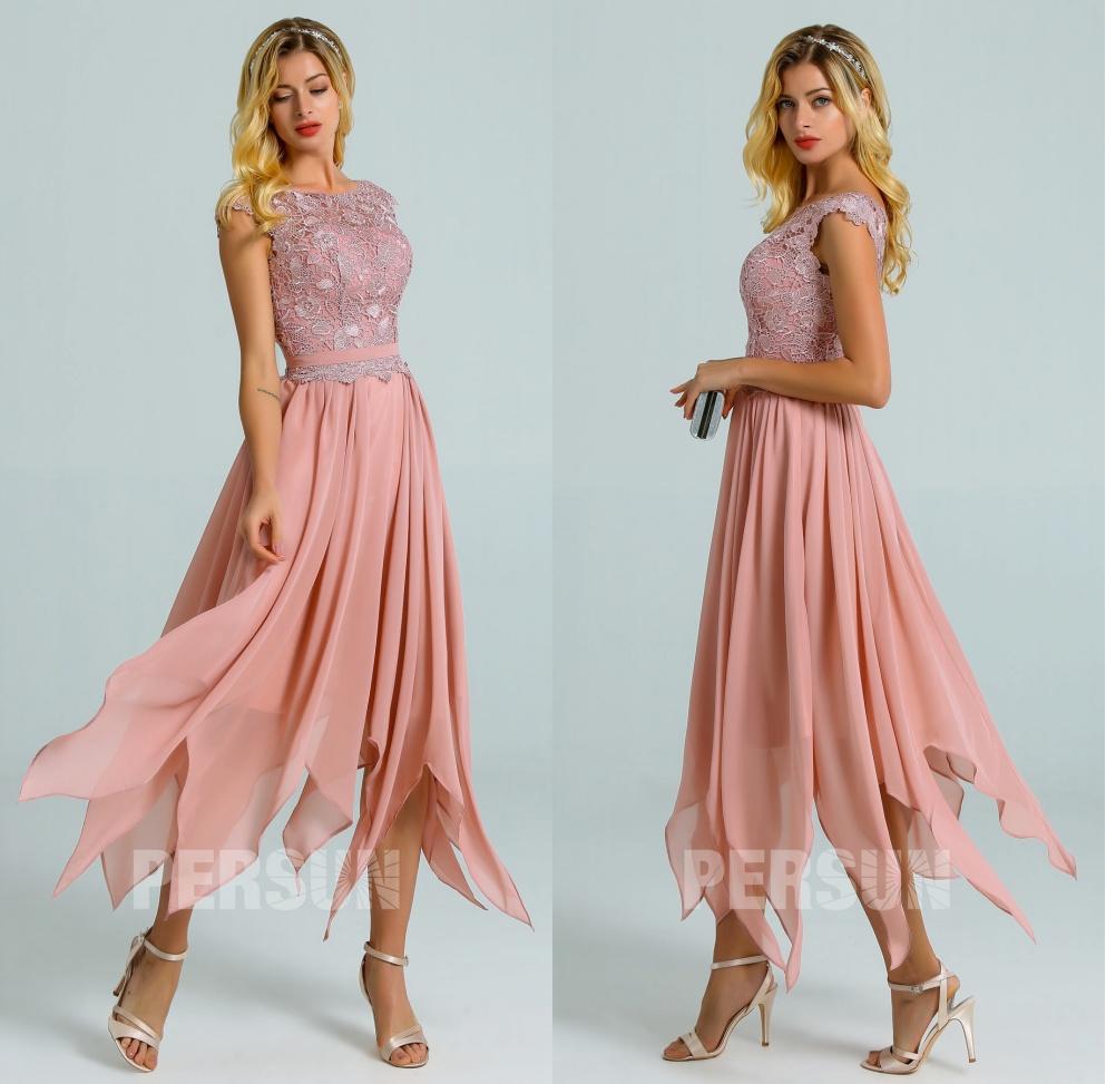 robe cocktail rose carnation haut dentelle jupe fantaisie