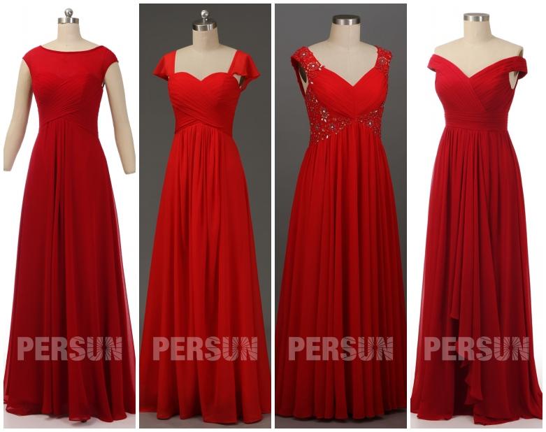 robe demoiselle d'honneur rouge longue col bardaot & bustier coeur