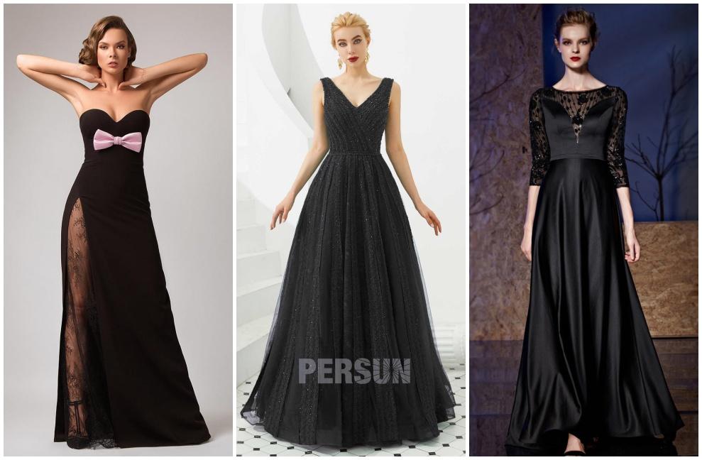 robe soirée longue noire bustier col v avec manches pour mariage