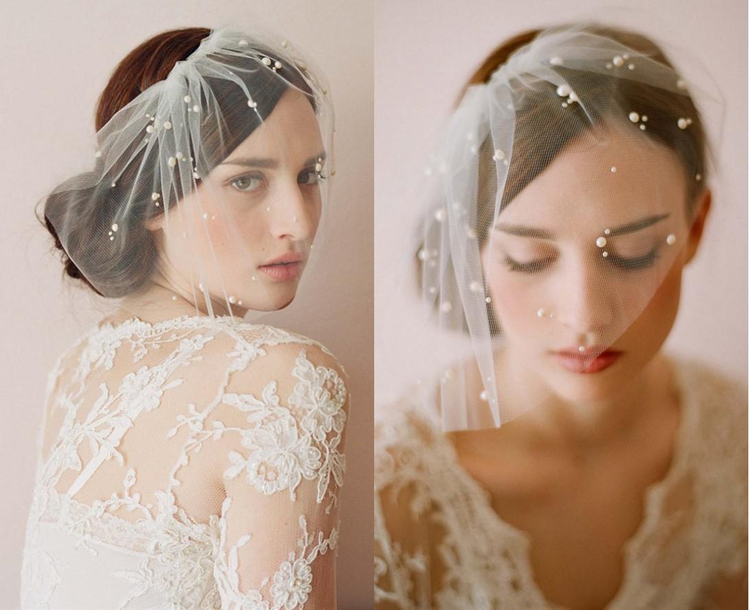 voilette de mariée en tulle souple appliqué de perles