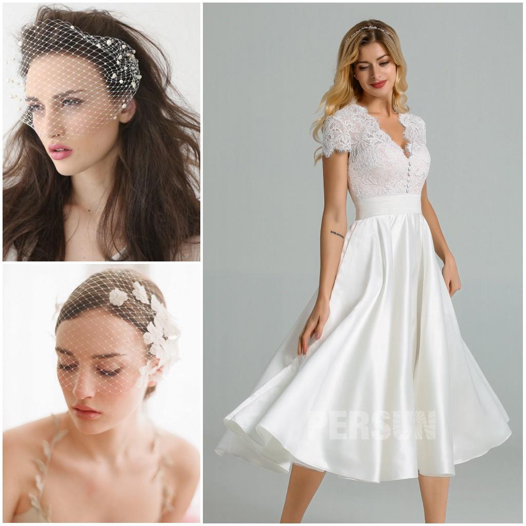 voilettes rétro assorties avec robe mariée midi vintage
