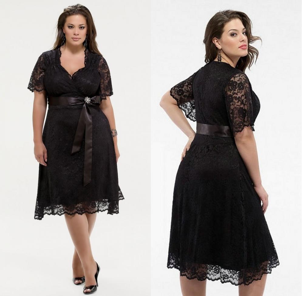 robe courte noire dentelle avec manches courtes pour grande taille
