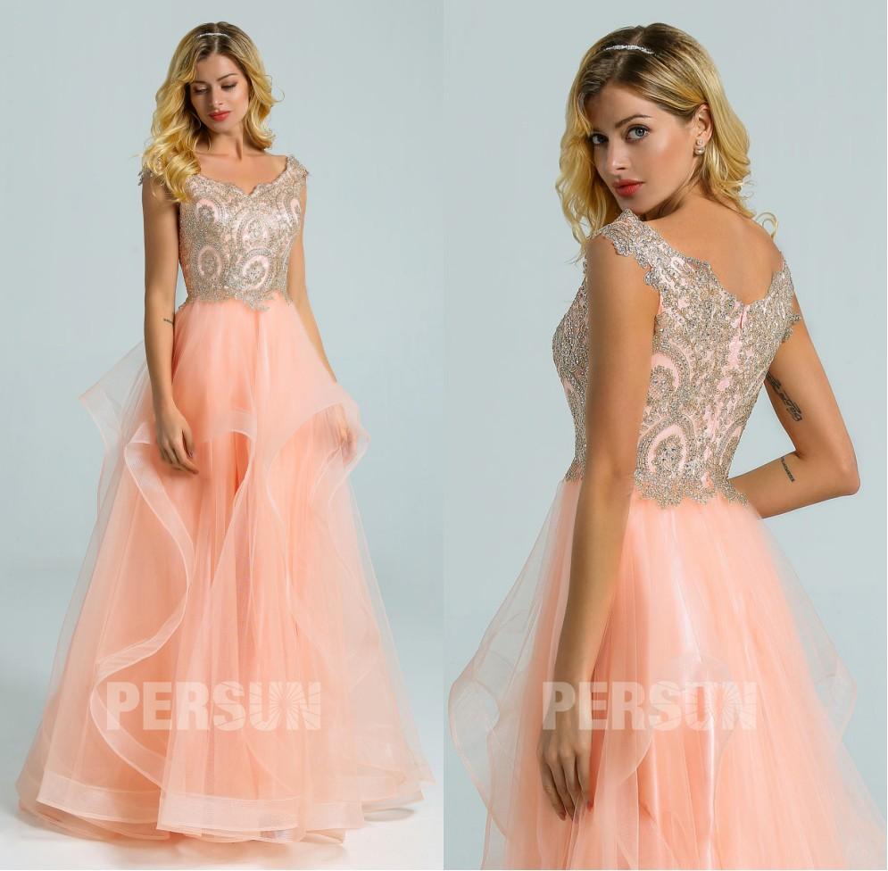 robe soirée princesse rose pêche haut guipure doré à jupe froufrou