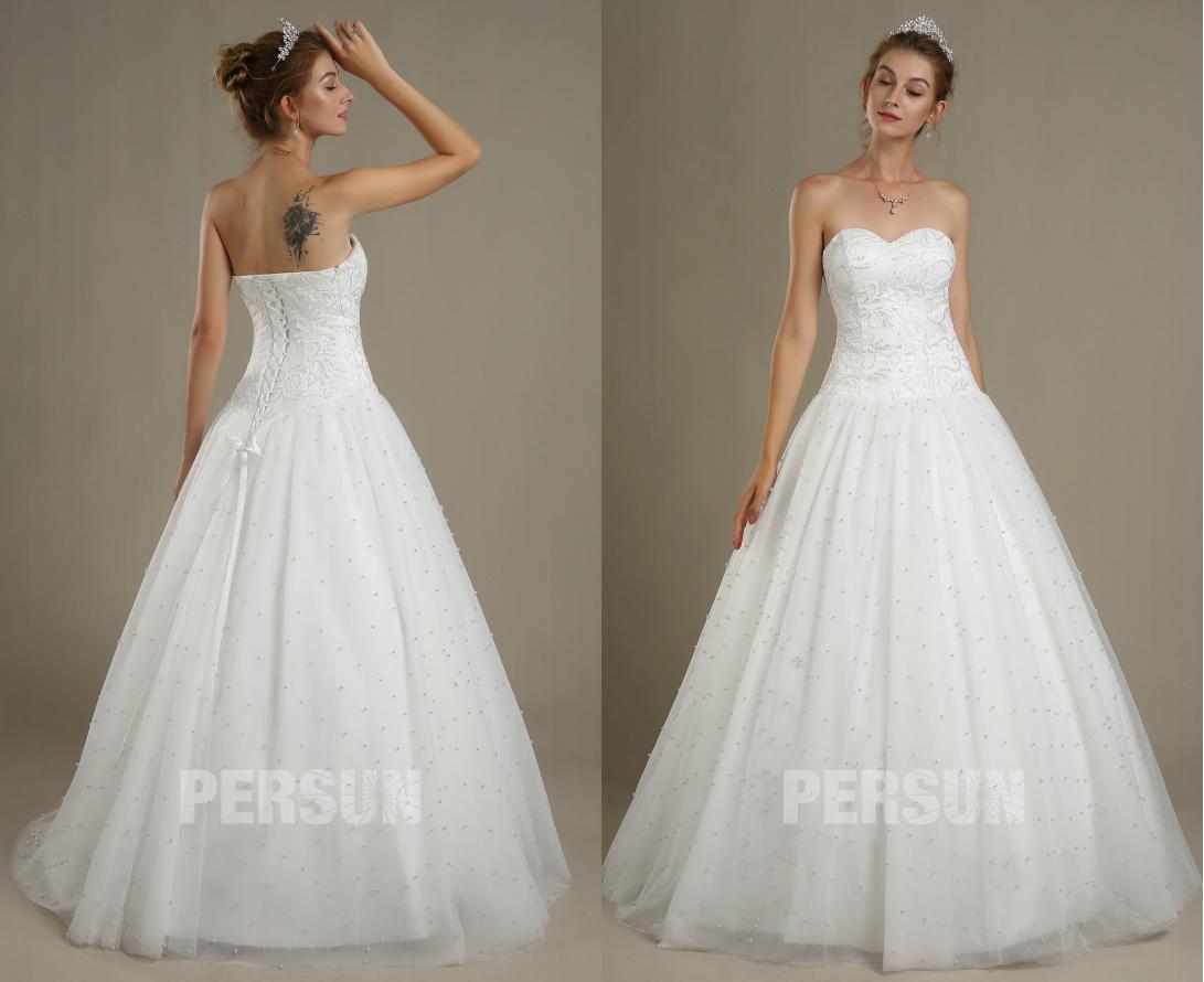 robe mariée princesse bustier coeur appliqué de dentelle à jupe perlée