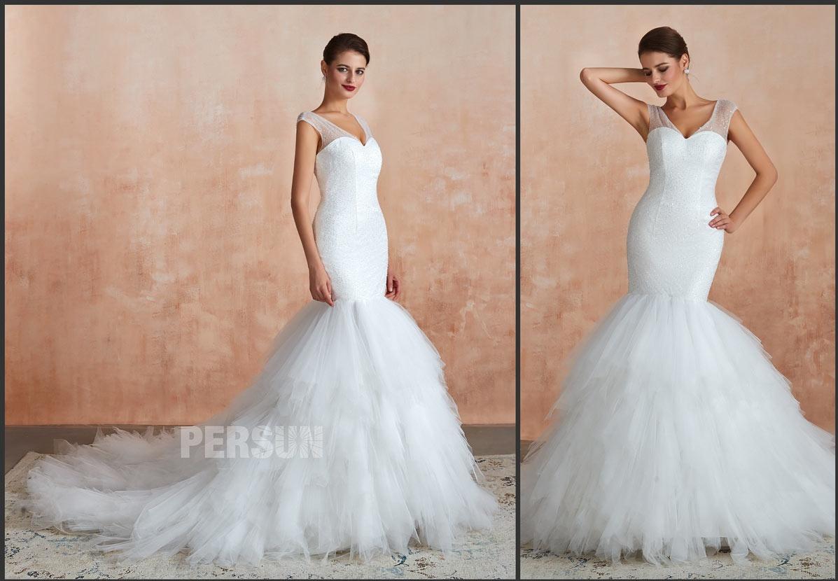 robe mariée sirène col v à jupe froufrou