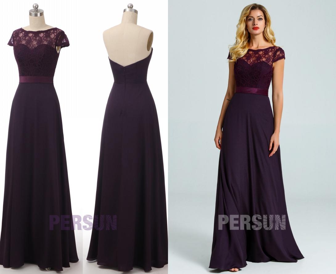 robe demoiselle d'honneur longue prune avec empiècement dentelle