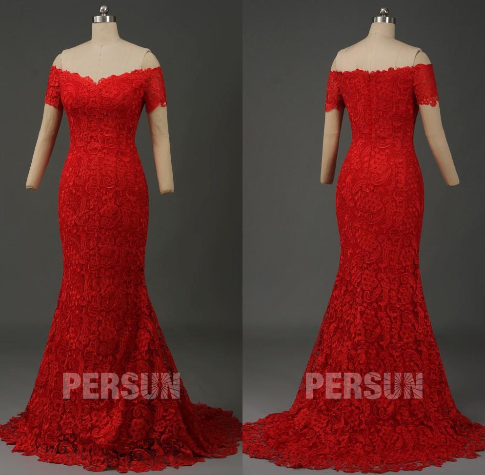 robe mariée sirène dentelle rouge à col bardot