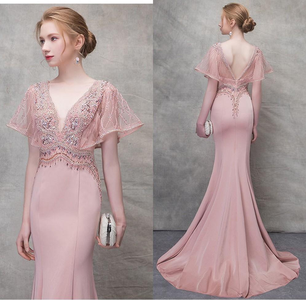 robe soirée sirène rose col v plongeant avec manche volantée
