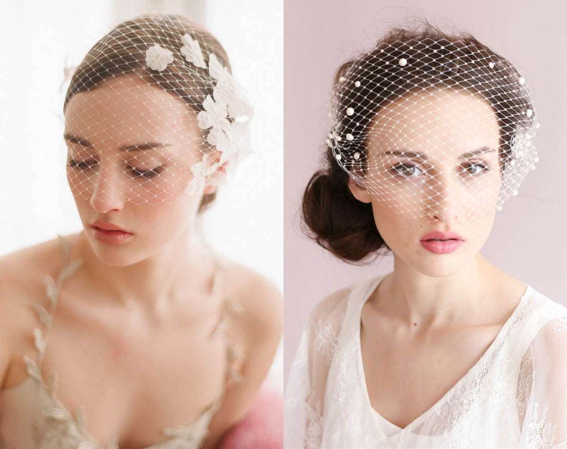 voilette vintage de mariée avec détails