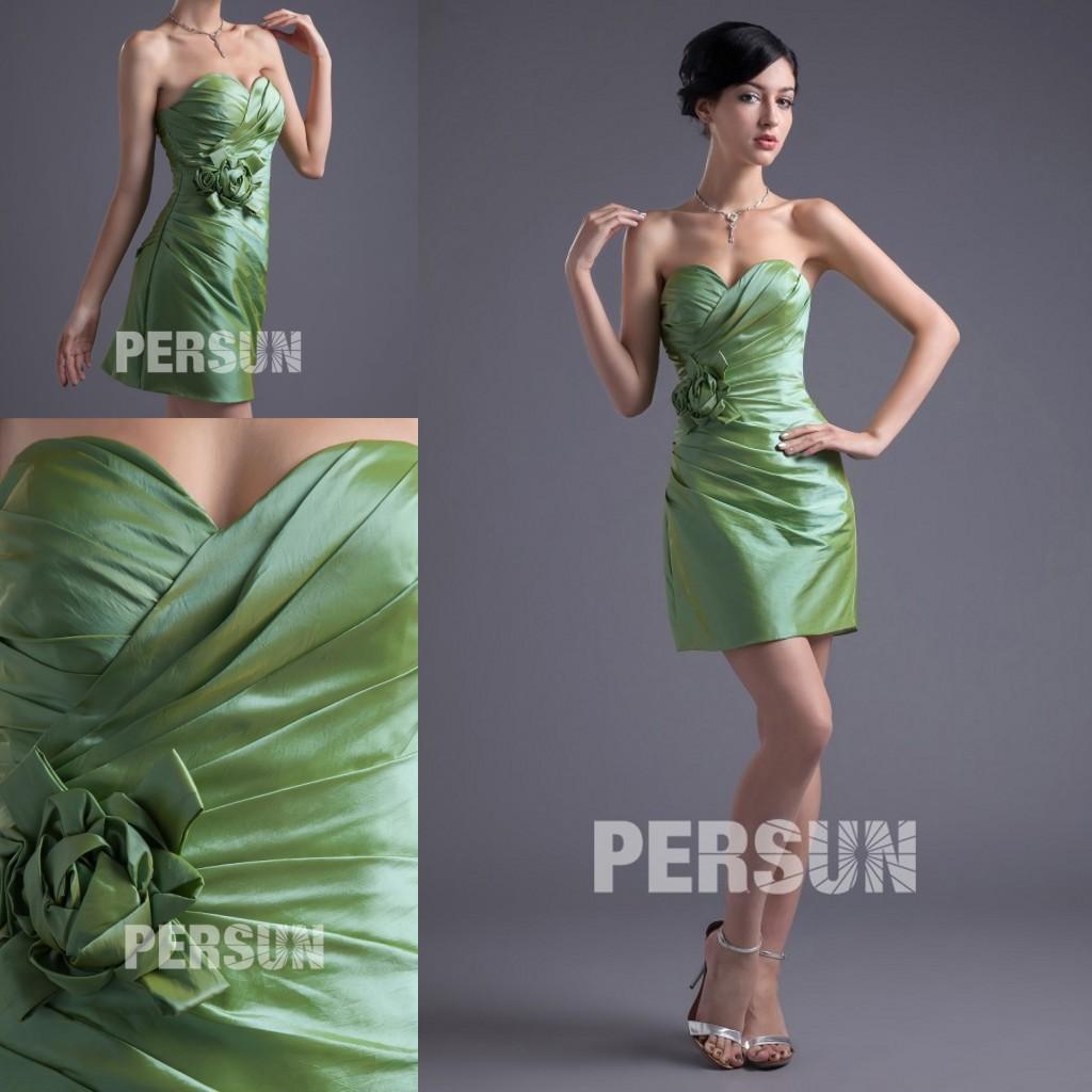 robe cocktail fourreau courte vert kaki taffetas bustier coeur