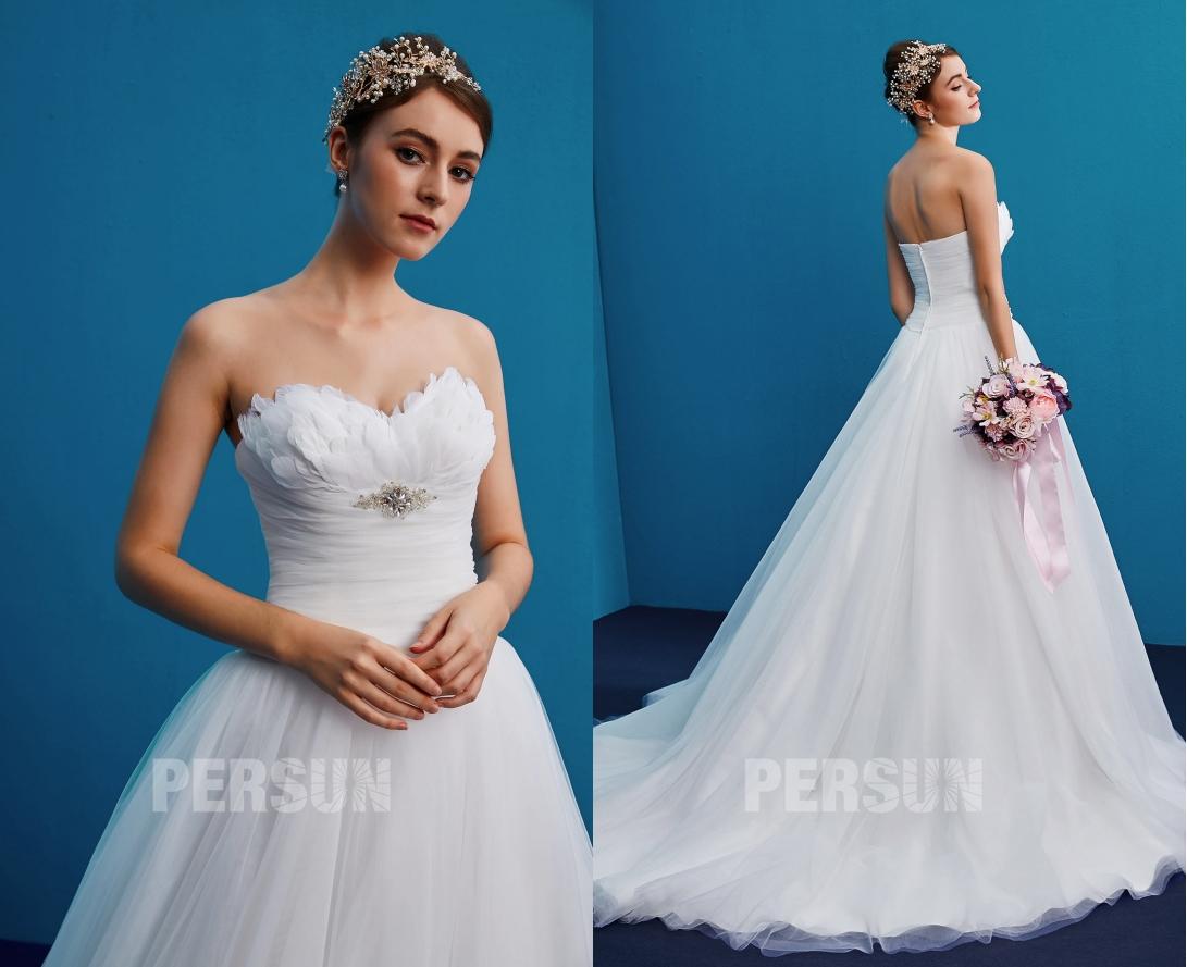robe mariée princesse bustier coeur plume