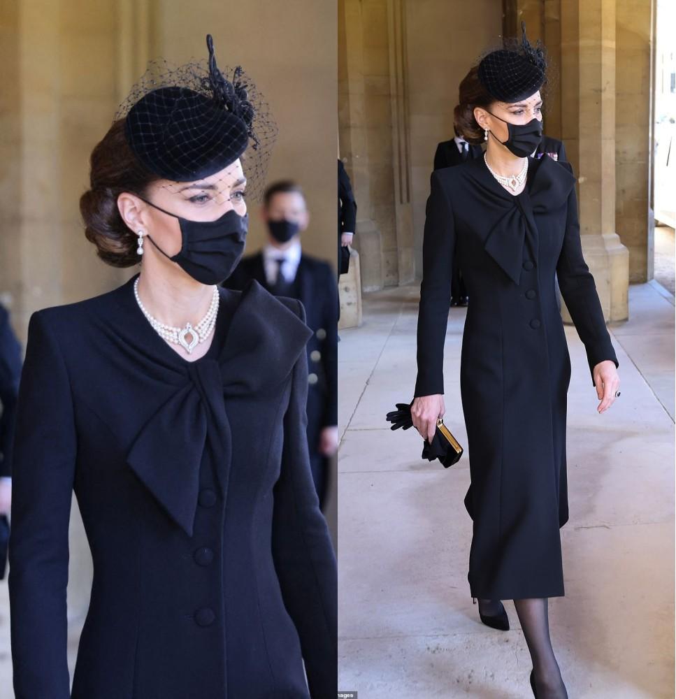 Kate Middleton en noir aux obsèques de prince Phillip