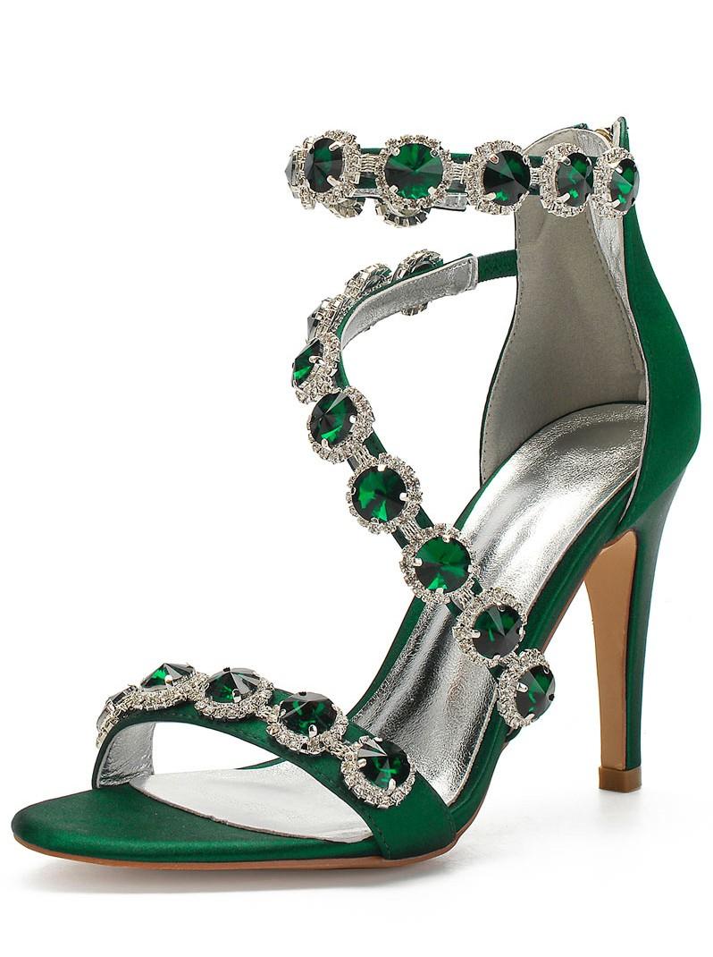 sandale à talon vert embelli de strass
