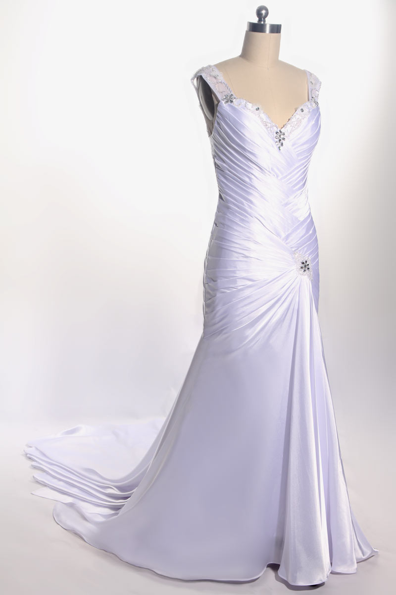 Robe chic ivoire col V strass pour mariage