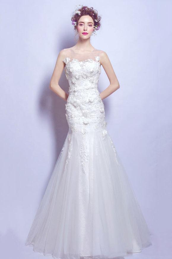 Robe de mariée bustier sexy dentelle florale