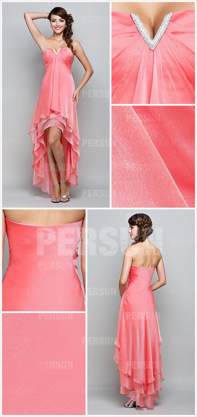 robe de bal ligne A bustier ornée des bijoux voile en tencel
